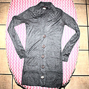 Small Long Gray Cardigan Button-Down
